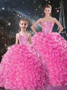 Discount Rose Pink Sweetheart Lace Up Beading and Ruffles Ball Gown Prom Dress Sleeveless