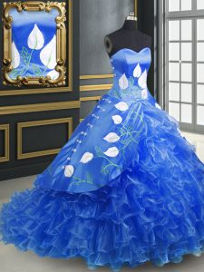 Glittering Lace Up Vestidos de Quinceanera Blue for Military Ball and Sweet 16 and Quinceanera with Embroidery and Ruffles Brush Train