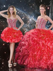 Coral Red Sleeveless Organza Lace Up 15th Birthday Dress for Military Ball and Sweet 16 and Quinceanera