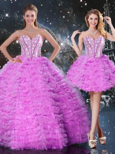 Sweetheart Sleeveless Quinceanera Gown Floor Length Beading and Ruffled Layers Fuchsia Organza