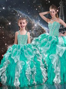 Custom Fit Sweetheart Sleeveless Organza Quinceanera Gowns Beading and Ruffles Lace Up