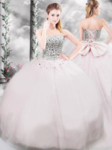 Free and Easy Pink Sleeveless Beading and Bowknot Lace Up Sweet 16 Dress