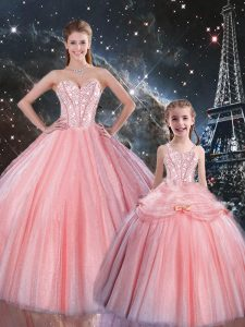 Fashionable Ball Gowns Quince Ball Gowns Pink Sweetheart Tulle Sleeveless Floor Length Lace Up