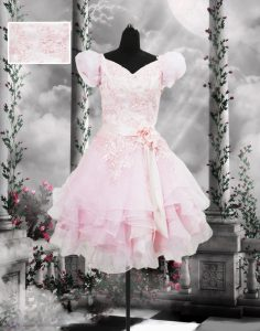 Baby Pink Lace Up V-neck Beading and Appliques and Ruffles and Hand Made Flower Prom Dress Organza Short Sleeves