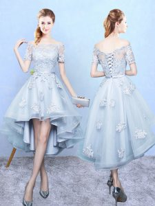 New Style Light Blue A-line Tulle Off The Shoulder Short Sleeves Lace High Low Lace Up Wedding Guest Dresses