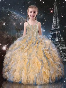 Customized Champagne Straps Neckline Beading and Ruffles Girls Pageant Dresses Sleeveless Lace Up