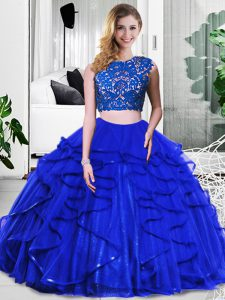 New Style Royal Blue Zipper Scoop Lace and Ruffles Sweet 16 Dress Tulle Sleeveless