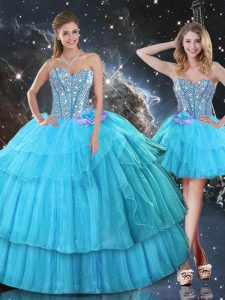 Modest Floor Length Ball Gowns Sleeveless Aqua Blue Quinceanera Dress Lace Up