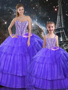 Purple Sleeveless Ruffled Layers and Sequins Floor Length 15th Birthday Dress