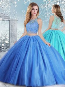 Ball Gowns Quinceanera Gown Baby Blue Scoop Tulle Sleeveless Floor Length Clasp Handle