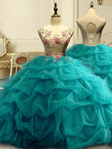 Popular Teal Sleeveless Organza Lace Up Quinceanera Gown for Military Ball and Sweet 16 and Quinceanera
