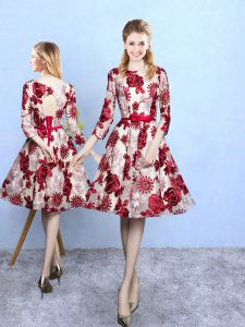 Noble Multi-color A-line Pattern Dama Dress Lace Up Printed 3 4 Length Sleeve Knee Length