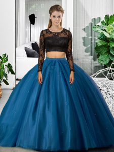 Long Sleeves Lace and Ruching Backless Vestidos de Quinceanera