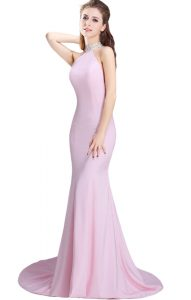 Baby Pink Mermaid Elastic Woven Satin Halter Top Sleeveless Beading Side Zipper Homecoming Dress Brush Train