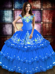 Excellent Blue Taffeta Lace Up Quince Ball Gowns Sleeveless Floor Length Embroidery and Ruffled Layers