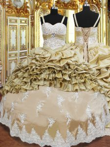 Floor Length Ball Gowns Sleeveless Champagne Sweet 16 Dresses Lace Up