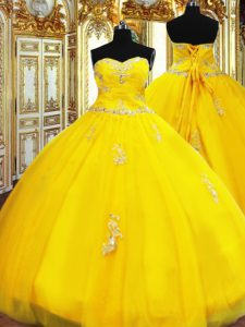 Fashionable Sleeveless Lace Up Floor Length Beading and Appliques Vestidos de Quinceanera