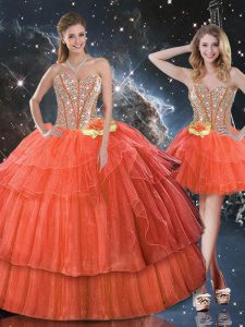 Sweetheart Sleeveless Lace Up Sweet 16 Quinceanera Dress Rust Red Organza
