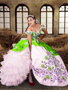 Floor Length Lace Up Quince Ball Gowns Multi-color for Military Ball and Sweet 16 and Quinceanera with Embroidery and Ruffled Layers