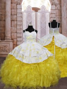 Gold Organza Lace Up Little Girl Pageant Gowns Sleeveless Brush Train Embroidery and Ruffles