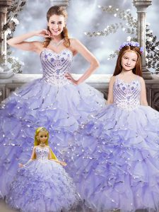 Decent Floor Length Lavender Quinceanera Gowns Organza Sleeveless Beading and Ruffles