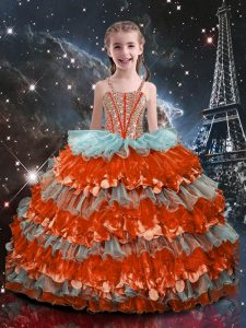 Custom Design Multi-color Ball Gowns Straps Sleeveless Organza Floor Length Lace Up Beading and Ruffled Layers Party Dress