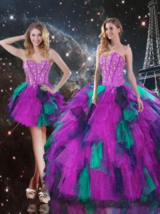Multi-color Tulle Lace Up Sweetheart Sleeveless Floor Length Quince Ball Gowns Beading and Ruffles