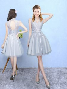 Knee Length Lace Up Bridesmaid Gown Silver for Wedding Party with Lace