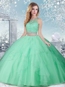 Fabulous Beading Sweet 16 Dress Apple Green Clasp Handle Sleeveless Floor Length