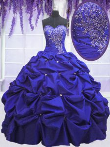Sweetheart Sleeveless Taffeta Quinceanera Dress Beading and Pick Ups Lace Up
