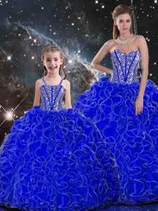 Smart Floor Length Royal Blue Quinceanera Dresses Organza Sleeveless Beading and Ruffles