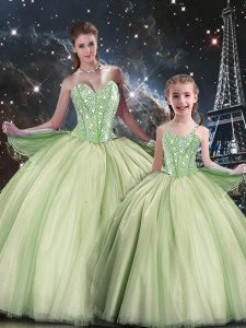 Yellow Green Sleeveless Beading Floor Length Quinceanera Dress