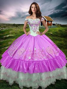Taffeta Sleeveless Floor Length Quinceanera Dresses and Beading and Embroidery and Ruffled Layers