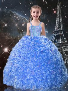 Organza Straps Sleeveless Lace Up Beading and Ruffles Kids Formal Wear in Baby Blue