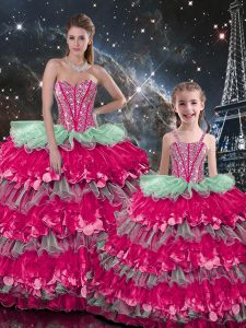 Noble Sleeveless Beading and Ruffles Lace Up Vestidos de Quinceanera