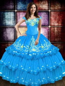 Taffeta Sleeveless Floor Length Sweet 16 Quinceanera Dress and Embroidery and Ruffled Layers