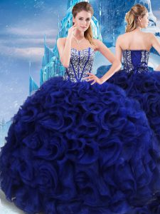 Best Selling Royal Blue Sleeveless Beading Floor Length Sweet 16 Dress