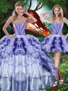 Best Selling Organza Sleeveless Floor Length 15 Quinceanera Dress and Beading and Ruffles and Ruffled Layers