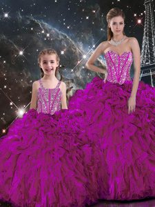 Great Beading and Ruffles Quinceanera Dresses Fuchsia Lace Up Sleeveless Floor Length