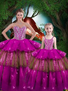 Sexy Floor Length Ball Gowns Sleeveless Fuchsia Quinceanera Dresses Lace Up