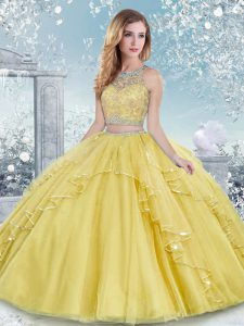 Gold Two Pieces Tulle Scoop Sleeveless Beading and Lace Floor Length Clasp Handle Quinceanera Dresses