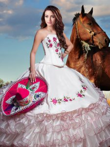 White Quinceanera Dresses Military Ball and Sweet 16 and Quinceanera with Embroidery and Ruffled Layers Strapless Sleeveless Lace Up