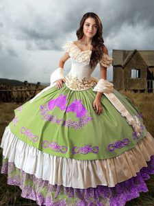 Elegant Brush Train Ball Gowns Sweet 16 Dresses Multi-color Off The Shoulder Taffeta Sleeveless Lace Up
