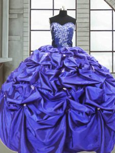 Purple Quince Ball Gowns Military Ball and Sweet 16 and Quinceanera with Beading and Pick Ups Sweetheart Sleeveless Lace Up
