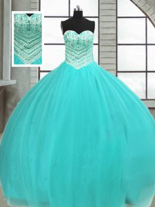 Cute Sleeveless Beading Lace Up Quince Ball Gowns