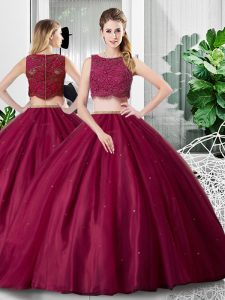 Inexpensive Lace and Ruching Sweet 16 Dresses Fuchsia Zipper Sleeveless Floor Length