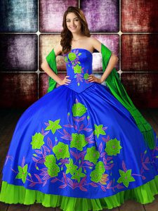 Hot Selling Ball Gowns Sweet 16 Dresses Multi-color Strapless Satin Sleeveless Floor Length Lace Up