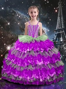 Floor Length Multi-color Kids Pageant Dress Organza Sleeveless Beading and Ruffled Layers