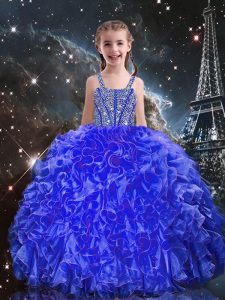 Attractive Royal Blue Straps Neckline Beading and Ruffles Kids Formal Wear Sleeveless Lace Up