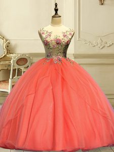 Exquisite Scoop Sleeveless Lace Up Quinceanera Dress Orange Red Organza